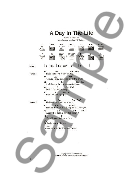 The Beatles: Chord Songbook - Lyrics & Chords Sheet Music - Sheet ...