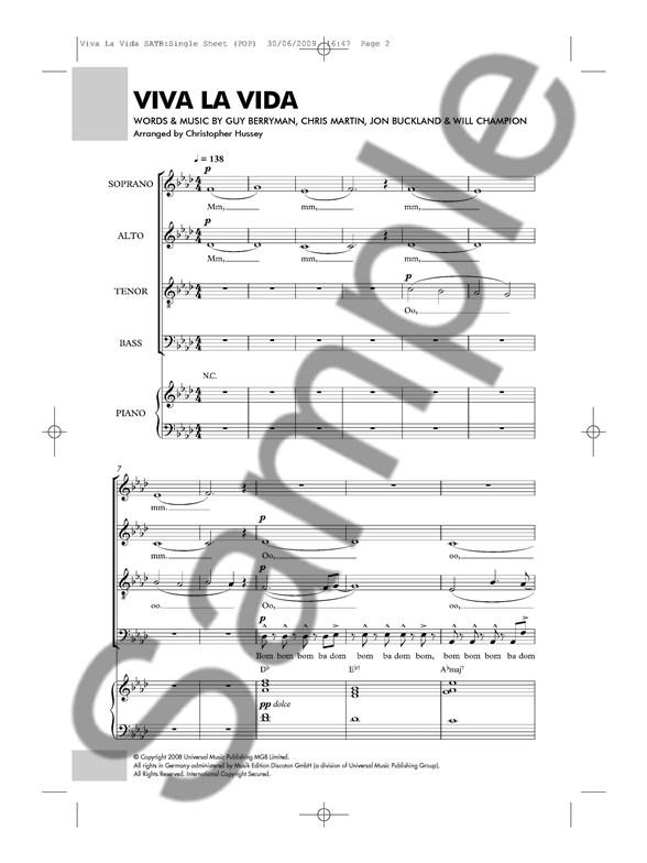 Coldplay Viva La Vida Satbpiano Piano Accompaniment Sheet