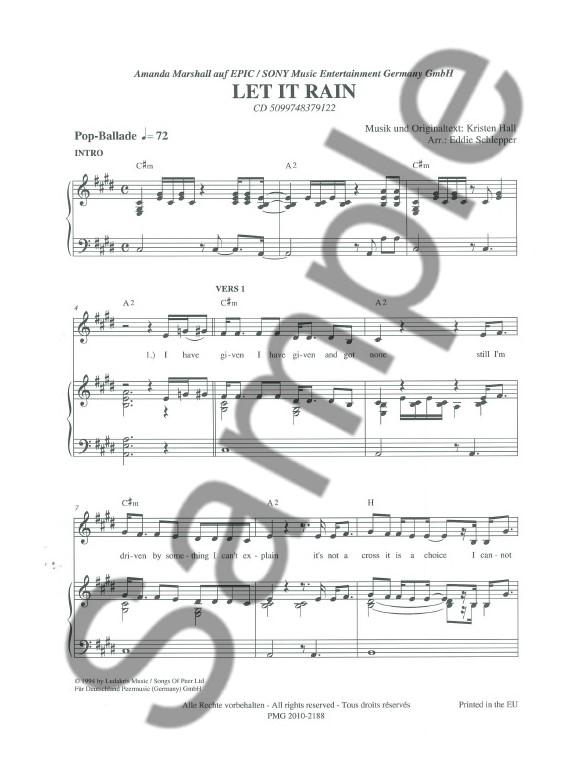Amanda Marshall: Let It Rain - Piano & Vocal Digital Sheet Music ...