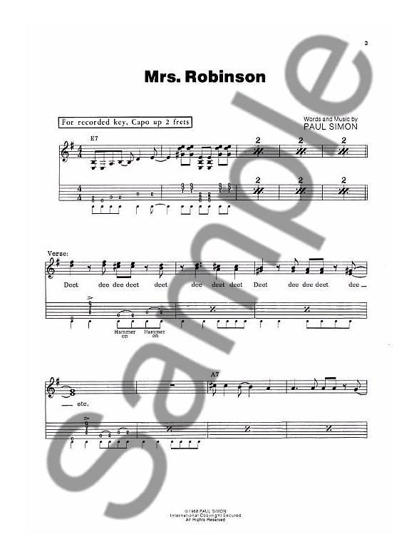 Simon And Garfunkel\'s Greatest Hits (Easy Guitar) - Guitar Tab Sheet ...