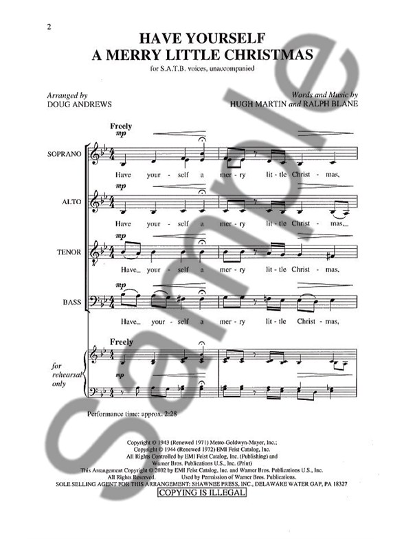 Have Yourself A Merry Little Christmas Satb Choral Sheet Music