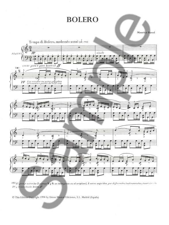 Maurice Ravel Bolero For Piano Solo Piano Sheet Music Sheet