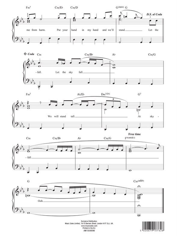 skyfall easy piano sheet music pdf