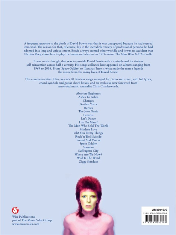 David Bowie 1947 - 2016 - Piano, Vocal & Guitar Sheet Music - Sheet ...