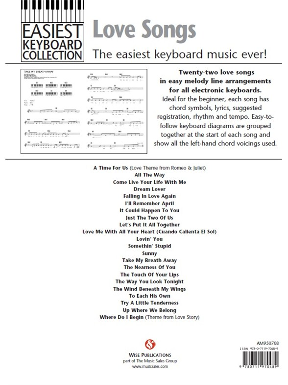 Easiest Keyboard Collection: Love Songs - Melody Line, Lyrics ...