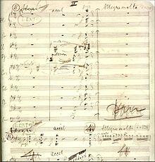 Fragmento del manuscrito de la apertura del segundo movimiento del Concierto para violonchelo