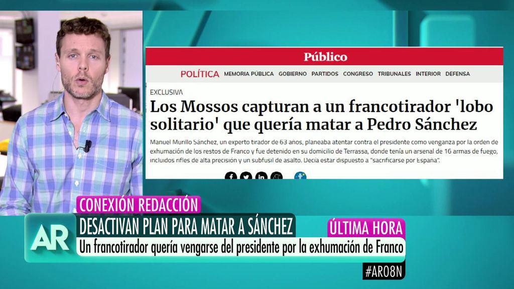 """El francotirador que quería matar a Pedro Sánchez, en WhatsApp: """"Estoy dispuesto a sacrificarme por España"""". Imagen de Telecinco que sigue la noticia minuto a minuto"""