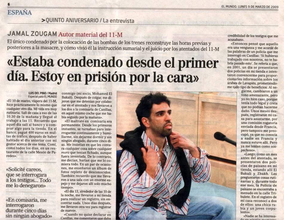 """Jamal Zougan en El Mundo : """"estoy en prisión por la cara"""""""