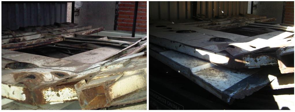 Foto 44.- A la izquierda, interior del cobertizo en febrero de 2011, a la derecha mismo interior en septiembre de 2013