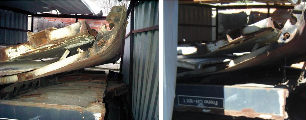Foto 45.- A la izquierda, interior del cobertizo en febrero de 2011, a la derecha mismo interior en septiembre de 2013