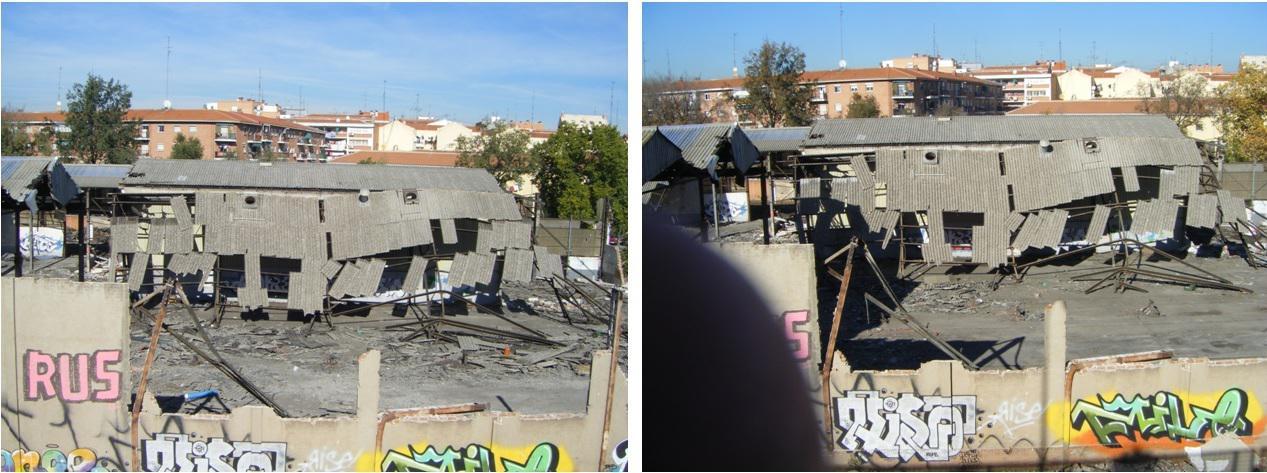 Foto 68.- Aspecto del taller el 2 de noviembre de 2013 (izquierda) y el 4 de diciembre (derecha)