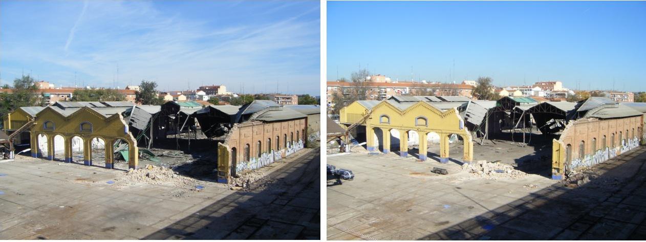 Foto 69.- Aspecto del taller el 2 de noviembre de 2013 (izquierda) y el 4 de diciembre (derecha)