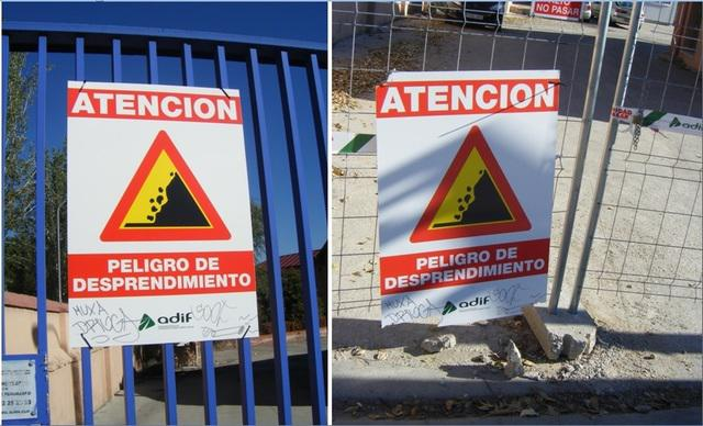 Foto 73.- El cartel del 7 de octubre (izquierda), arrancado en su día y retirado con las propias puertas, es el mismo que el vuelto a colocar antes del 4 de diciembre (derecha)