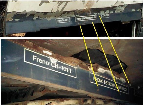 Foto 9.- Identificación de las chapas como pertenecientes al foco de Santa Eugenia. Arriba el borde del suelo junto al foco de explosión de Santa Eugenia, abajo una de las piezas almacenadas en el cobertizo de Tafesa.