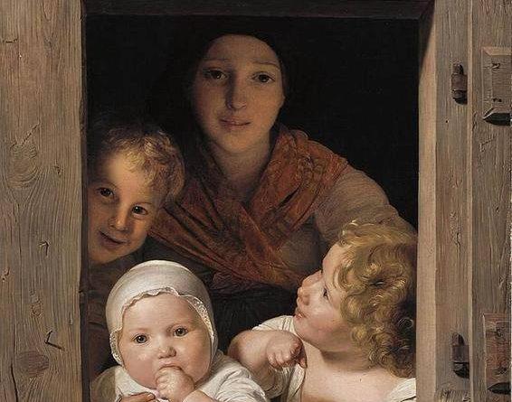 Joven campesina asomada a la ventana con tres niños