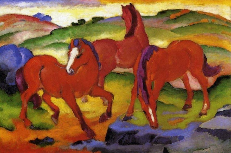 Los caballos rojos de Franz Marc,