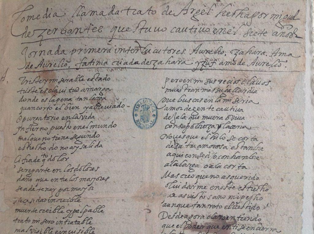 manuscrito El trato de Argel
