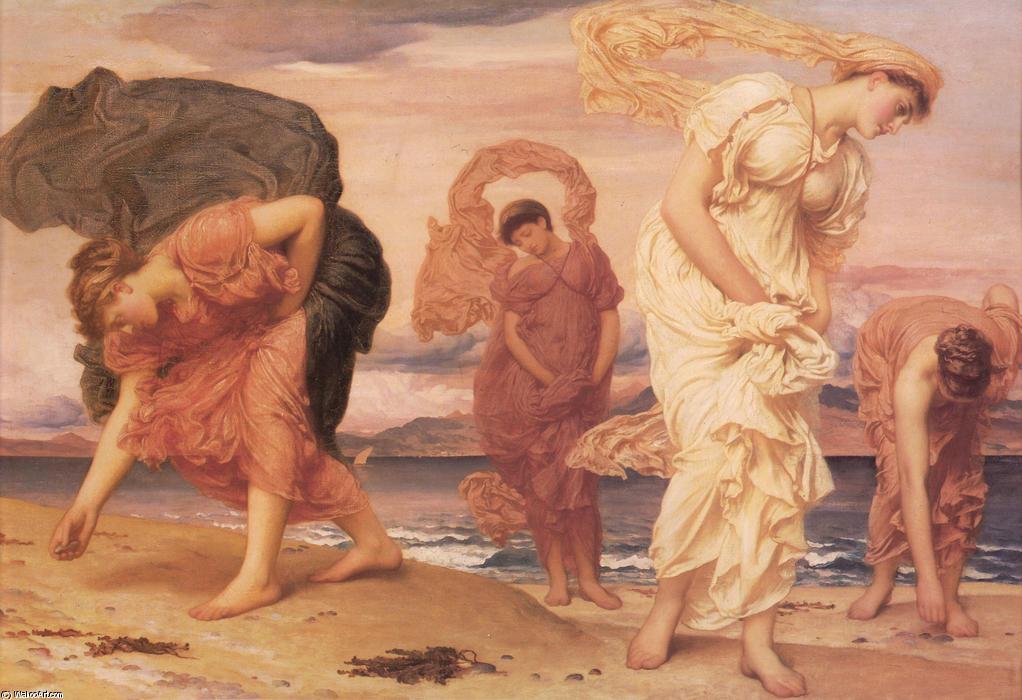 Chicas griegas recogiendo guijarros por el mar
