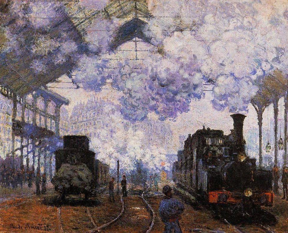 Llegada de un tren en la Gare Saint-Lazare