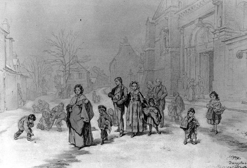 André Henri Dargelas Gente saliendo de la iglesia en invierno