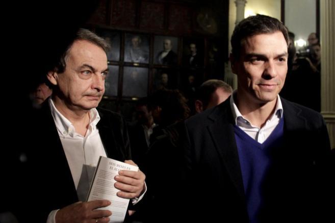 Zapatero y Pedro Sánchez en el Ateneo Foto de El Mundo