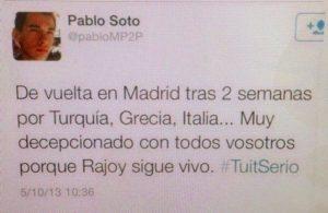 Tuit de Pablo Soto Concejal de Madrid