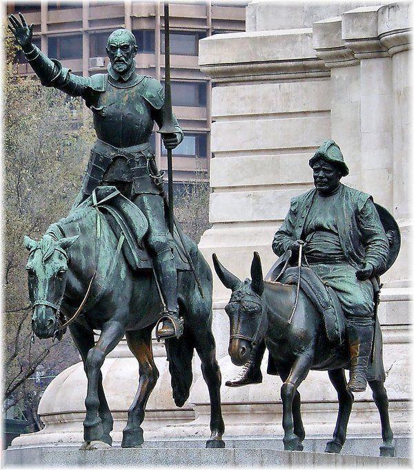 don Quijite y Sancho en la Plaza Mayor