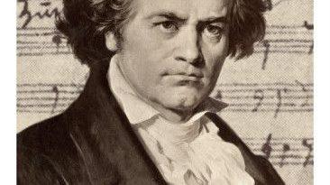 Ludwig Van Beethoven con uno de sus manuscritos