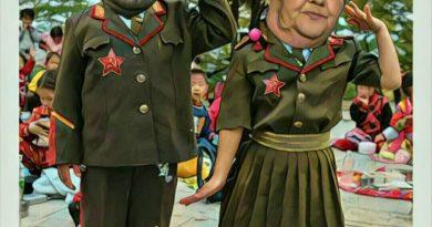 Comunistas saludando a sus privilegios de lo público; es decir, a costa de los demás. Ilustración de Linda Galmor