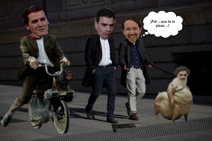 ¡¡¡ Sánchez que te la pisas !!! Ilustración de José Ignacio Díaz Gómez. http://joseignaciodiazgomez.blogspot.com.es/