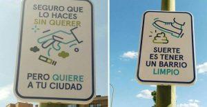 carteles para que el ciudadano que pasea por Madrid, sea consciente de que hay que mantener limpia la ciudad