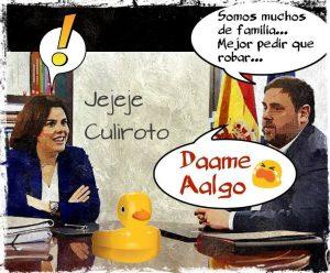 """""""Sólida argumentación económica de Junqueras en Madrid"""". Ilustración de Linda Galmor"""