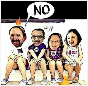 La bancada podemita durante el discurso de Rajoy