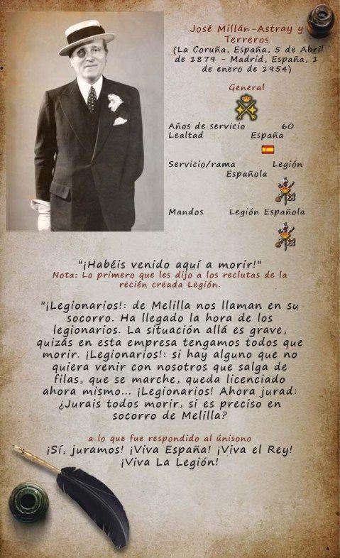 Nace en La Coruña el 5 de abril de 1879, hijo de José Millán Astray (de quien tomará, uniéndolos, ambos apellidos) y de Pilar Terreros Segade