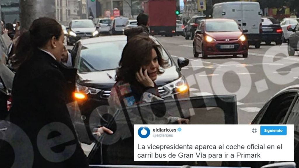 La vicepresidenta ha sido sorprendida por 'eldiario.es' en un incidente que recuerda al de Esperanza Aguirre