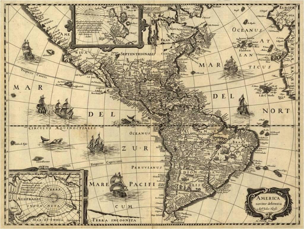America Noviter Delineata de Hondius, 1637-59. Justo al sur del trópico de Cáncer aparecen las islas Vezina, Monges y la Desgraciada.
