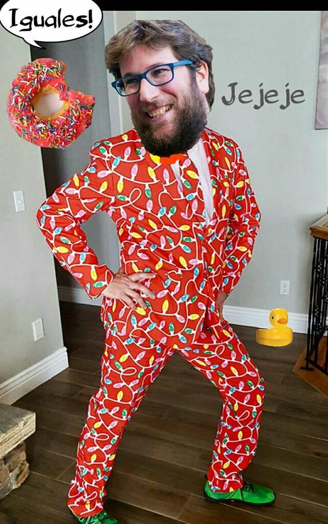 Prueba fotografía del líder Anticapitalista con su musa el Donut Glaseado para la cartelería de Vistalegre II