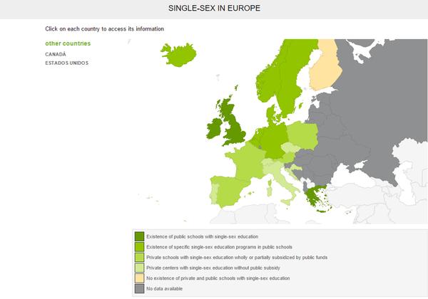 El único país europeo donde NO existen colegios con educación diferenciada es Finlandia.
