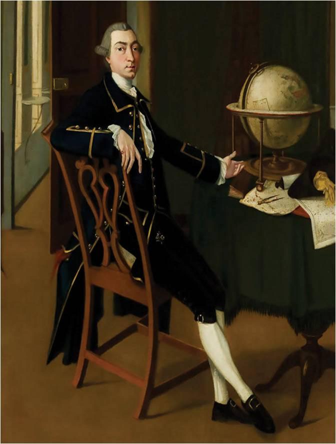 Retrato del geógrafo y botánico escocés Alexander Dalrymple en el Museo Nacional de Escocia.