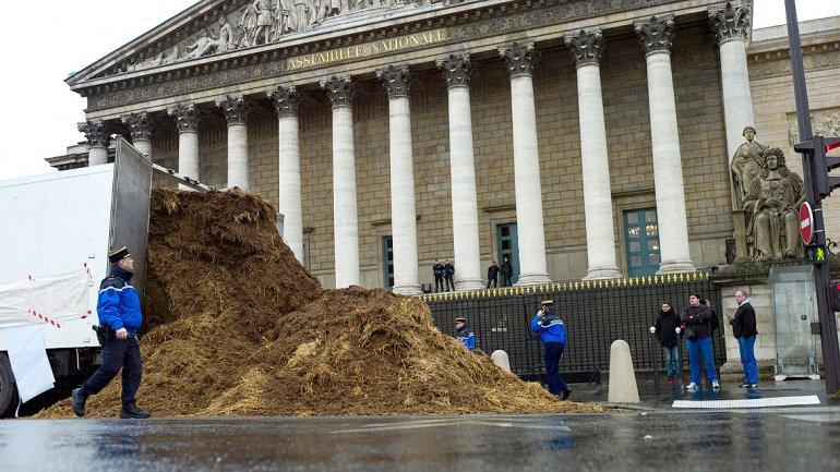 Un camionero vierte un montón de estiércol ante la Asamblea Nacional francesa
