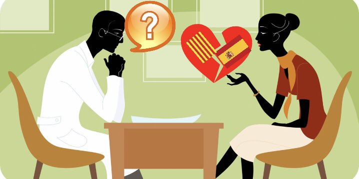 el medico y la paciente con el corazón roto mientras el psiquiatra no entiende nada. Ilustración de ZooroPinUp