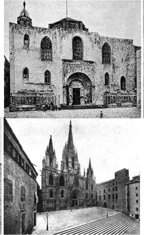 Fachada de la catedral a finales del siglo XIX y en 1913.Fuente Florensa i Ferrer
