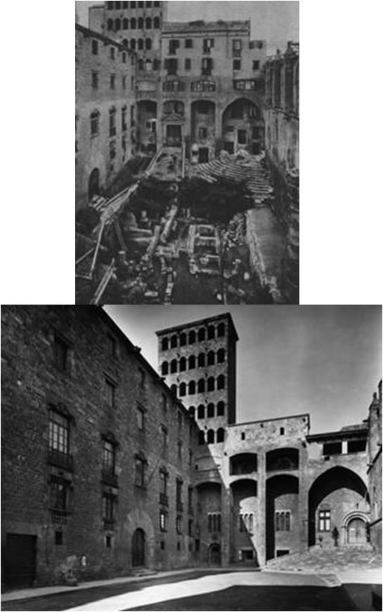 Plaza del Rey en 1935 y en 1956