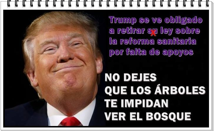Trump se ve obligado a retirar la Ley de Reforma Sanitaria. Ilustración de Rafael Gómez de Marcos