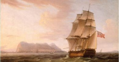 A British Man of War before the Rock of Gibraltar obra de Thomas Whitcombe