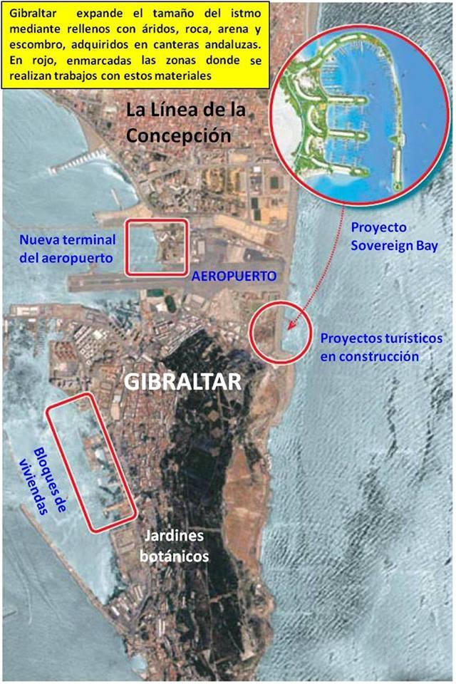 Ampliaciones previstas en el istmo de Gibraltar para la próxima década, enmarcadas en línea roja.
