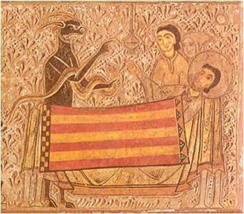 Escena en la que se representa a San Martín de Tours en su lecho de muerte