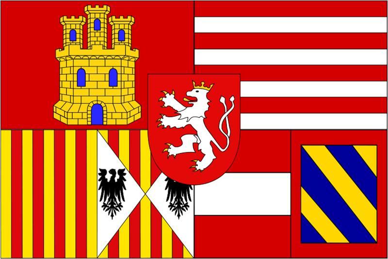 Estandarte del pretendiente Archiduque Carlos, como Carlos III, al que se rindieron los españoles defensores que fue izado tras la toma de la plaza.