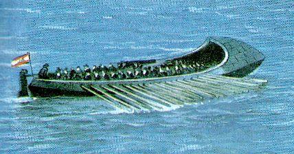 Modelo de la lancha cañonera inventada por Barceló y que se aplicó por primera vez en el Sitio de Gibraltar (1.779-1.783). Estaban blindada