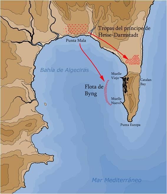 Situación de las tropas sitiadoras en la Bahía de Algeciras.